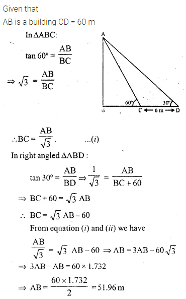ML Aggarwal Class 10 Solutions for ICSE Maths Chapter 20 Heights and Distances Ex 20 Q20