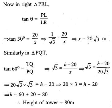 ML Aggarwal Class 10 Solutions for ICSE Maths Chapter 20 Heights and Distances Ex 20 Q34.1