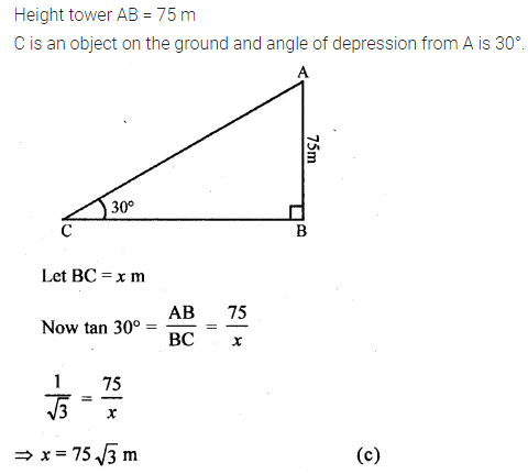 ML Aggarwal Class 10 Solutions for ICSE Maths Chapter 20 Heights and Distances MCQS Q5