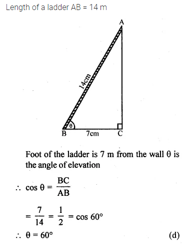 ML Aggarwal Class 10 Solutions for ICSE Maths Chapter 20 Heights and Distances MCQS Q6