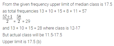 ML Aggarwal Class 10 Solutions for ICSE Maths Chapter 21 Measures of Central Tendency MCQS Q12.1