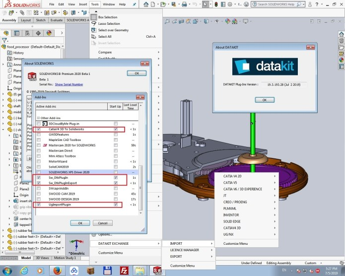 Working with DATAKIT 2019.3 Import-Export for SolidWorks 2010-2020 full