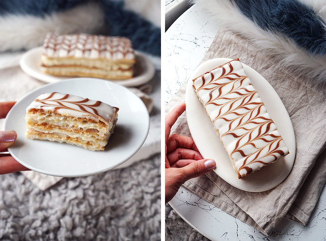 Homemade gluten free mille-feuille / custard slices made with Jus-Rol gluten free puff pastry + pastry cream and a simple icing