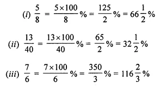 ML Aggarwal Class 7 Solutions for ICSE Maths Chapter 7 Percentage and Its Applications Check Your Progress Q2