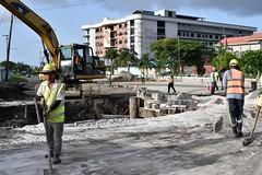 Scenes from the major repairs being done to the bridge at the Mandela/Homestretch junction.