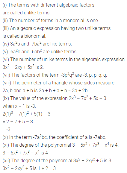 ML Aggarwal Class 7 Solutions for ICSE Maths Chapter 8 Algebraic Expressions Objective Type Questions Q1