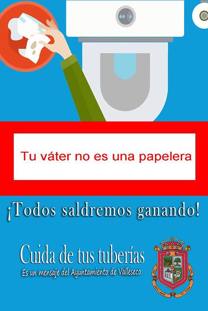 Valleseco lanza una campaña para que no se tiren las toallitas higiénicas por el inodoro