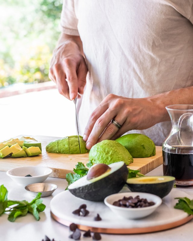 dicing the avocados into 1-inch chunks