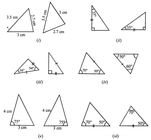 ML Aggarwal Class 7 Solutions for ICSE Maths Chapter 12 Congruence of Triangles Check Your Progress Q1
