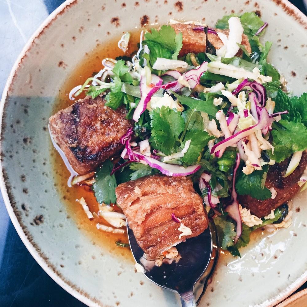 25 June 2016: Pork belly, apple slaw, chilli caramel, black vinegar @ Red Spice QV | Melbourne, Victoria
