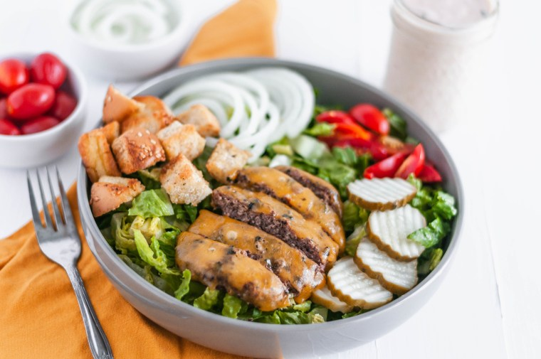 Lighten up your favorite summer main dish with this Cheeseburger Salad. All the delicious flavors from a cheeseburger atop a big bed of lettuce.