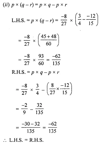 ML Aggarwal Class 8 Solutions for ICSE Maths Chapter 1 Rational Numbers Ex 1.3 Q6.1