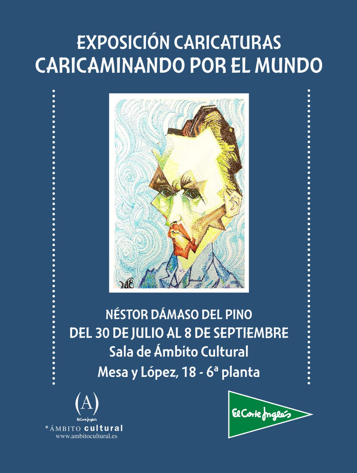 Exposición titulada «Caricaminando por el Mundo» del artista Néstor Dámaso del Pino