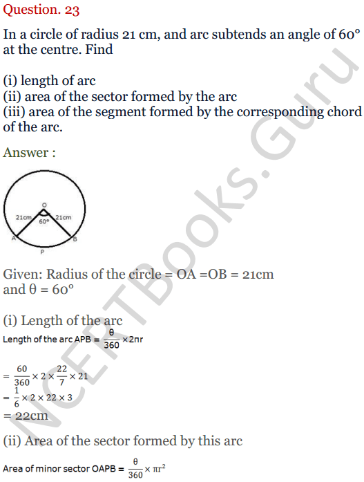 KC Sinha Maths Solutions Class 10 Chapter 13.Areas Related to circles - Ex 13 - 24