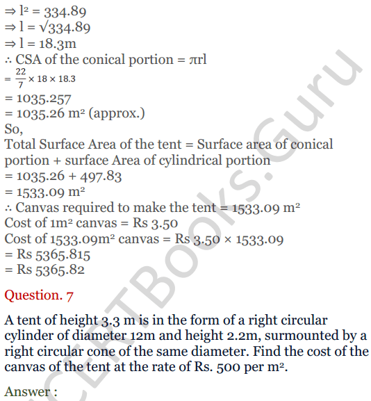 KC Sinha Maths Solutions Class 10 Chapter 14. Surface Areas and volumes - Ex 14.2 - 9
