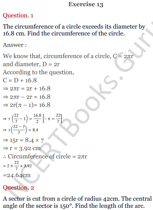 KC Sinha Maths Solutions Class 10 Chapter 13.Areas Related to circles - Ex 13 - 1