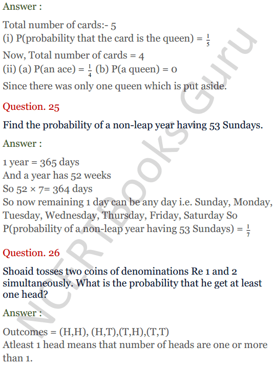 KC Sinha Maths Solutions Class 10 Chapter 15. Probability Ex.15 - 19