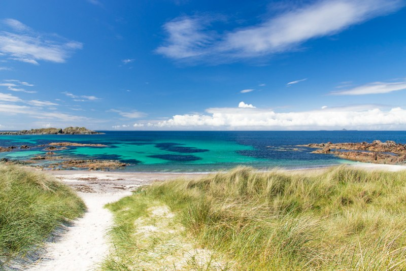 White sand beaches on Iona Island