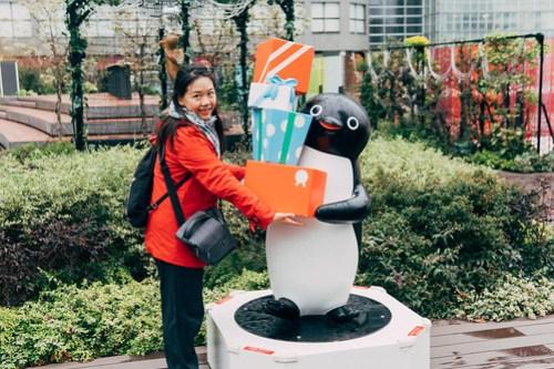 Suica penguin near Shinjuku Station, Tokyo