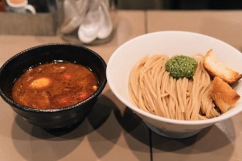 Shrimp tomato ramen at Gonokami Seisakujo (五ノ神製作所), Tokyo