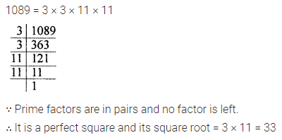 ICSE Mathematics Class 8 Solutions Chapter 3 Squares and Square Roots Check Your Progress Q1
