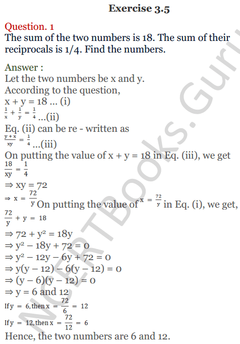 KC Sinha Maths Solutions Class 10 Chapter 3 Pair of Linear Equations in Two Variables Ex 3.5 - 1