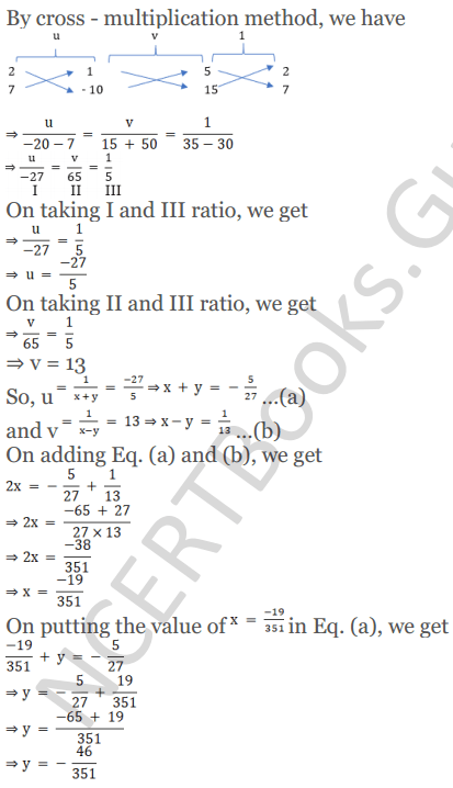 KC Sinha Maths Solutions Class 10 Chapter 3 Pair of Linear Equations in Two Variables Ex 3.4 - 19