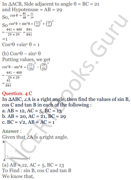 KC Sinha Maths Solutions Class 10 Chapter 4 Trigonometric Ratios and Identities Ex 4.1 - 9