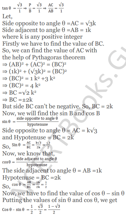 KC Sinha Maths Solutions Class 10 Chapter 4 Trigonometric Ratios and Identities Ex 4.1 - 57
