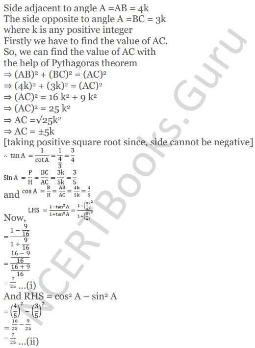 KC Sinha Maths Solutions Class 10 Chapter 4 Trigonometric Ratios and Identities Ex 4.1 - 62