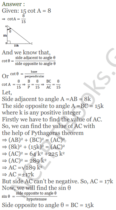 KC Sinha Maths Solutions Class 10 Chapter 4 Trigonometric Ratios and Identities Ex 4.1 - 45