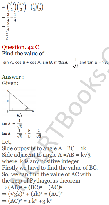 KC Sinha Maths Solutions Class 10 Chapter 4 Trigonometric Ratios and Identities Ex 4.1 - 92