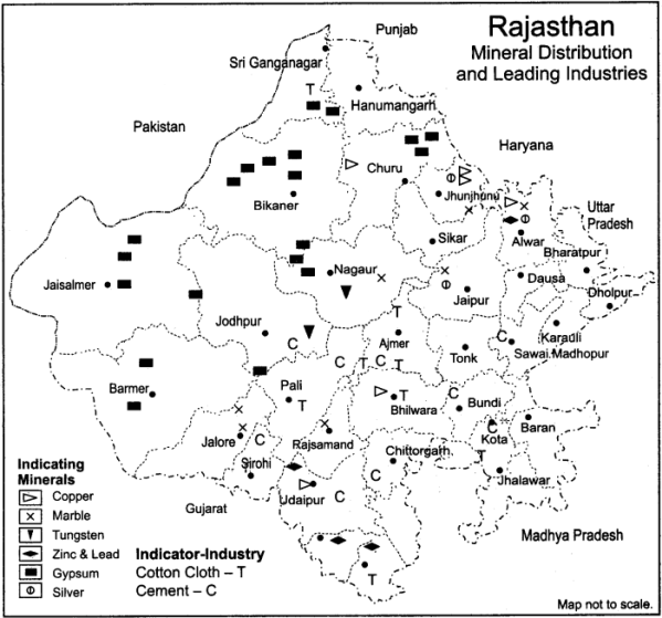 RBSE Solutions for Class 12 Geography Chapter 24 Rajasthan Minerals and Industries 1