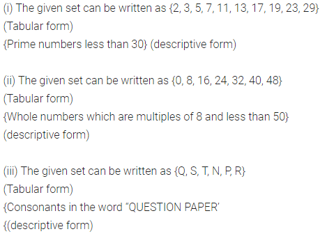 ML Aggarwal Class 6 Solutions for ICSE Maths Chapter 5 Sets