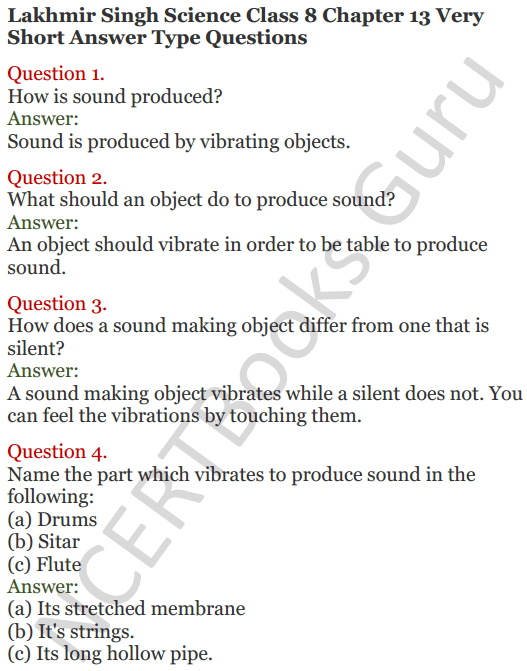 Lakhmir Singh Science Class 8 Solutions Chapter 13 Sound - 1