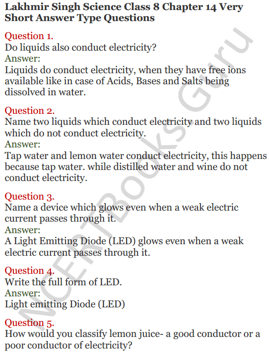 Lakhmir Singh Science Class 8 Solutions Chapter 14 Chemical Effects of Electric Current - 1