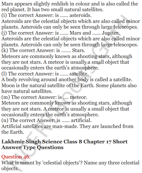 Lakhmir Singh Science Class 8 Solutions Chapter 17 Stars and the Solar System - 15
