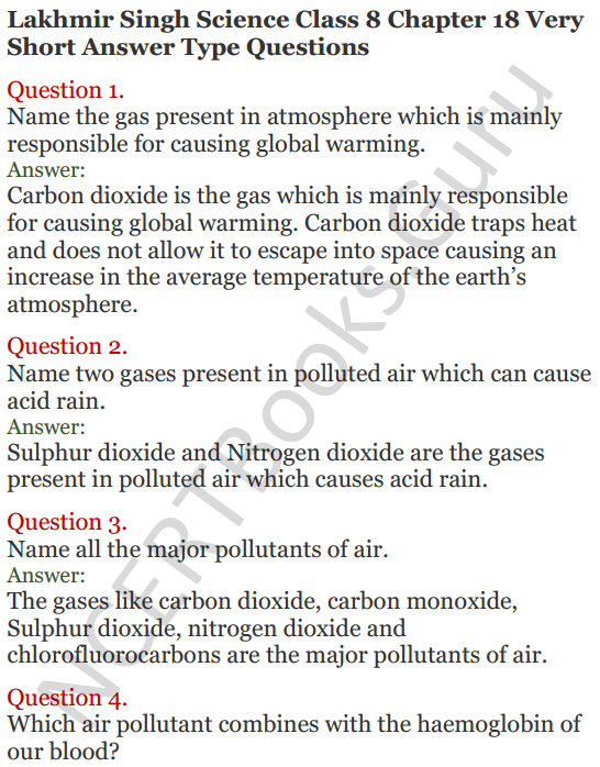 Lakhmir Singh Science Class 8 Solutions Chapter 18 Pollution of Air and Water - 1