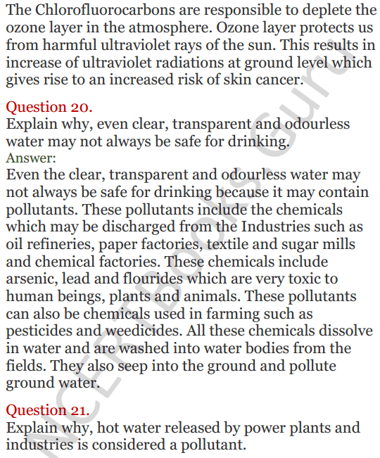 Lakhmir Singh Science Class 8 Solutions Chapter 18 Pollution of Air and Water - 10