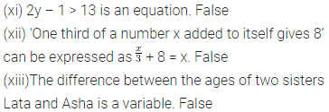 ICSE Class 6 Maths Chapter 9 Algebra Objective Type Questions