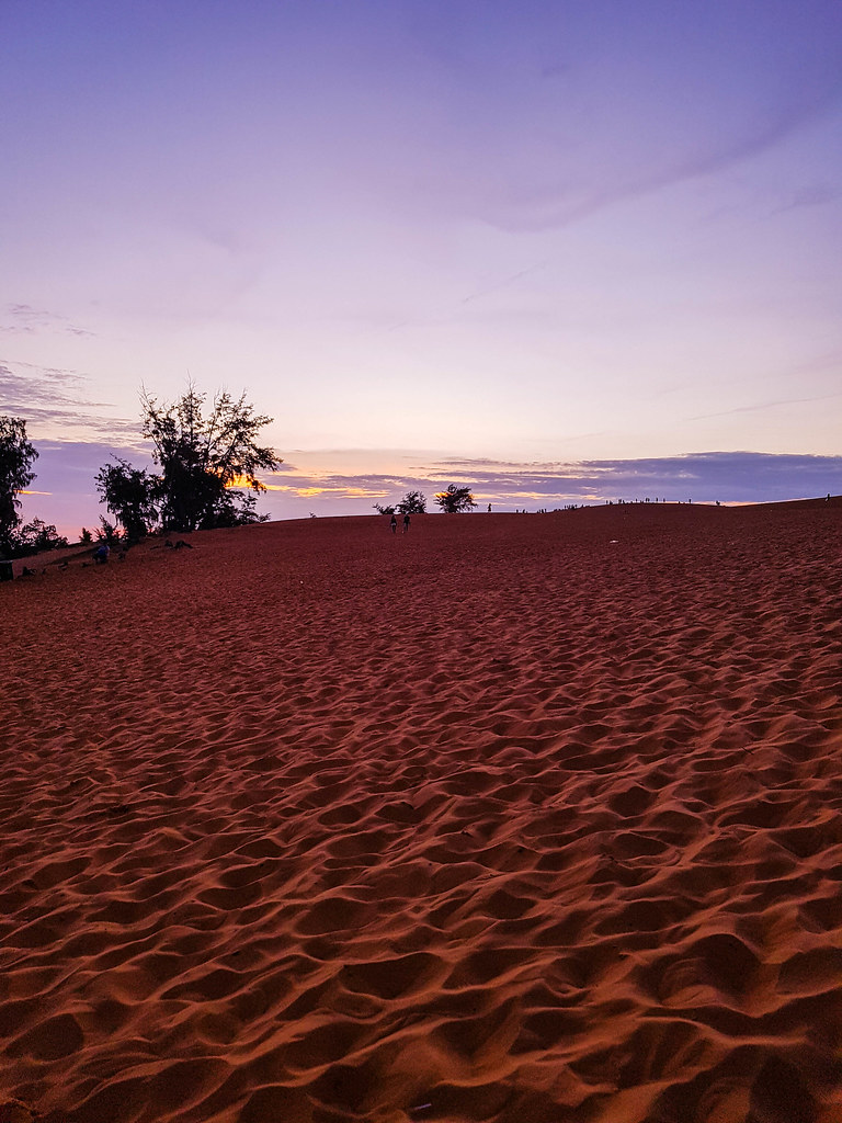 The red dunes at sunset, with an intesified red color