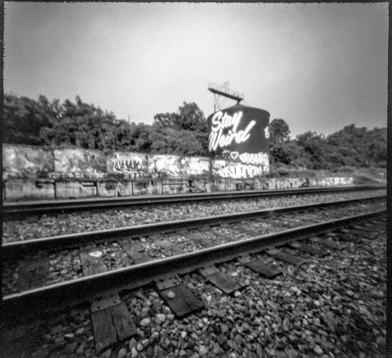 railroad tracks, silo, graffiti, River District, Asheville, NC, 6x6 pinhole camera, Arista.Edu 200, HC-110 developer, 8.1.19
