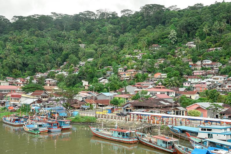 view of the muaro river from sitti nurbaya bridge