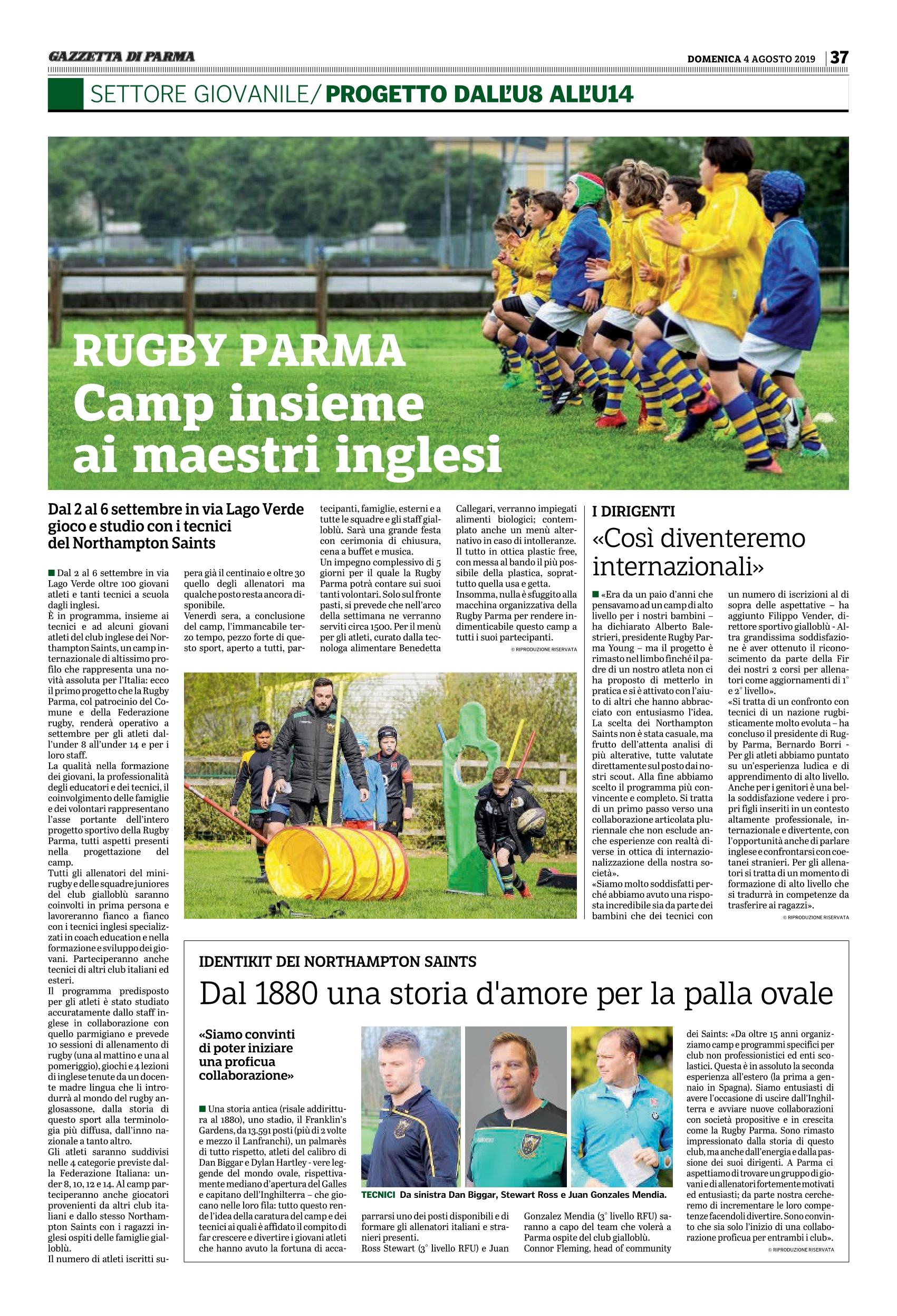 International Rugby Camp I Northampton Saints Al Lavoro Con