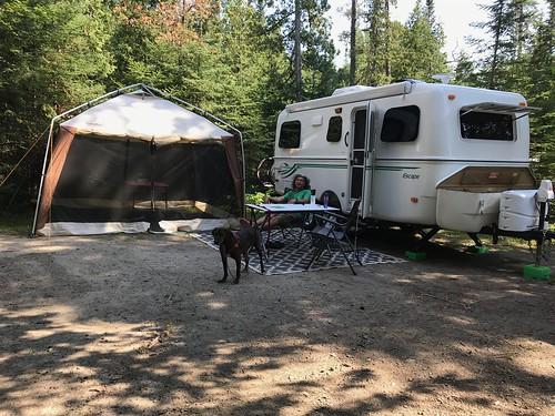 Aaron - Campsite all set up Pierre relaxing