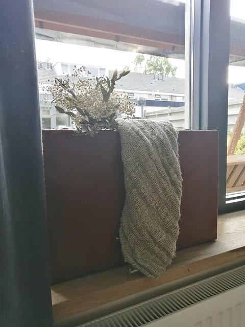 Ovale pot vensterbank linnen doek toef