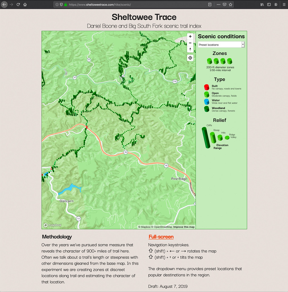 Sheltowee Trace, Daniel Boone National Forest, and Big South Fork scenic trail index
