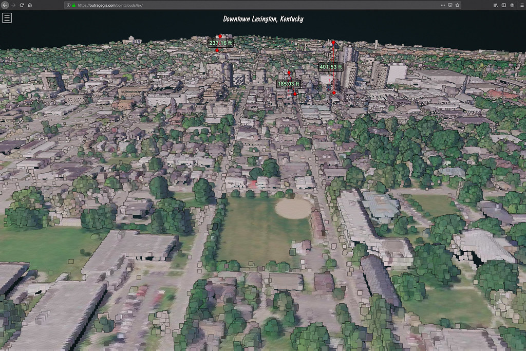 Lidar point cloud of downtown Lexington, Kentucky