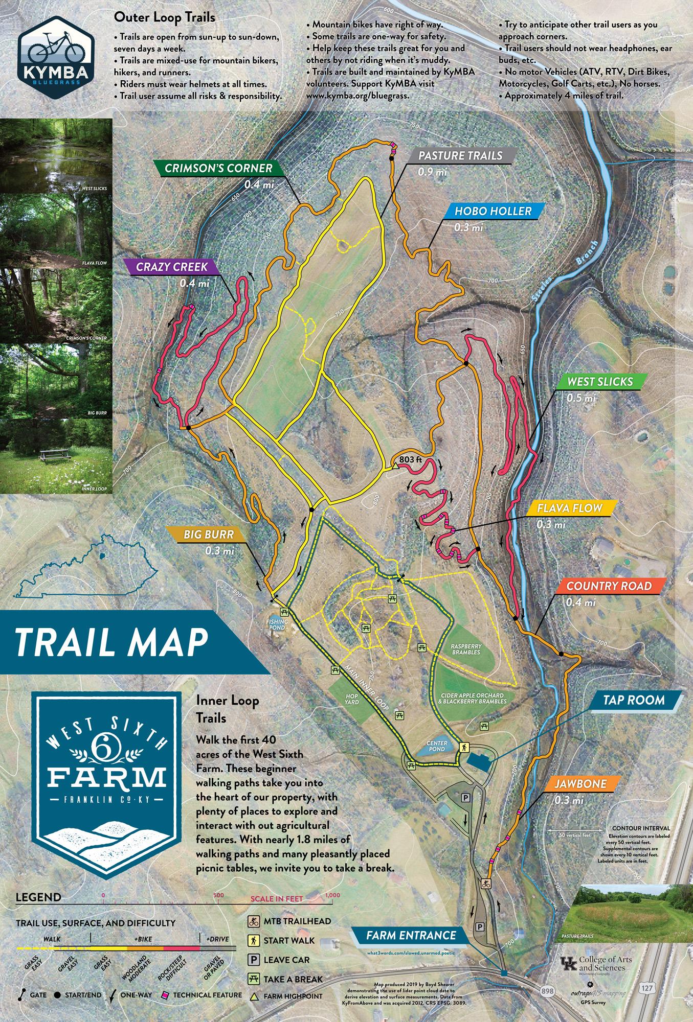 West Sixth Farm trail map