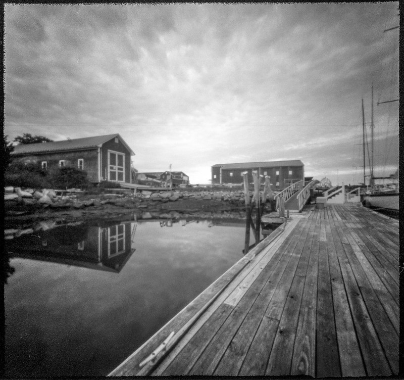 dockside, reflections, Lyman Morse Boat Yard, Thomaston, Maine, 6x6 pinhole camera, Arista.Edu 200, HC-110 developer, July 2019
